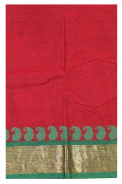 Chettinadu pure cotton saree with Zari border and attached blouse (30562C)