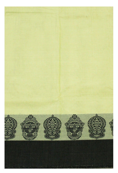 Chettinadu pure cotton Handloom saree with Small Faces in border and attached blouse (30565B)