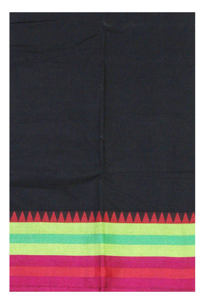 Chettinad pure cotton Handloom saree with Small Temple border and attached blouse (30566A)