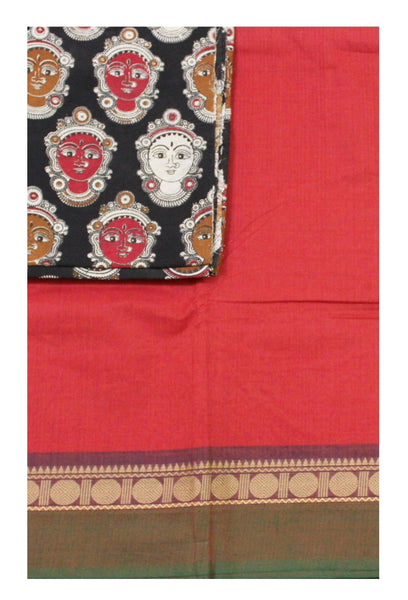 Chettinad pure cotton Handloom saree with a Kalamkari designer blouse material (30568A)