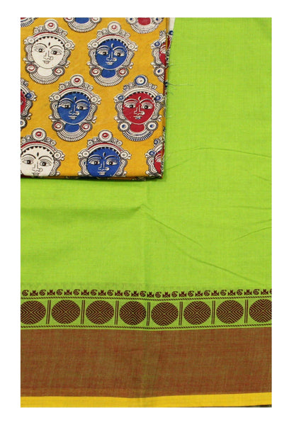 Chettinad pure cotton Handloom saree with a Kalamkari designer blouse material (30570A)