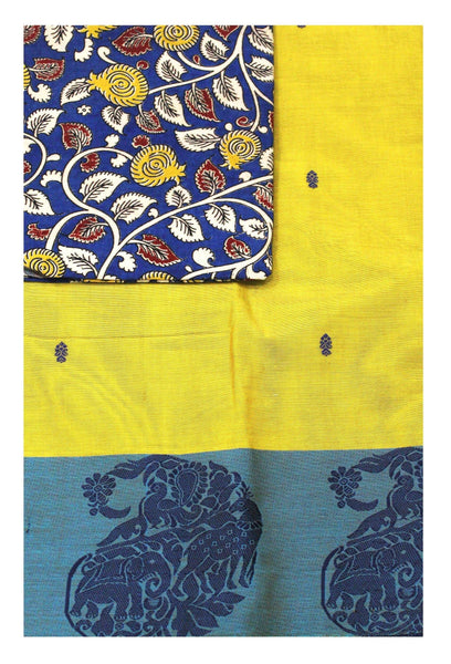 Chettinad pure cotton Handloom saree with putta and beautiful matching kalamkari blouse material  (30571B)