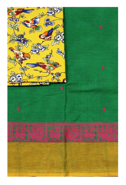Chettinad pure cotton Handloom saree with putta allover body and a Kalamkari designer blouse material (30582A)