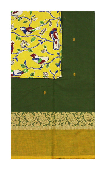 Chettinad pure cotton saree with a Kalamkari designer blouse material (30584B)