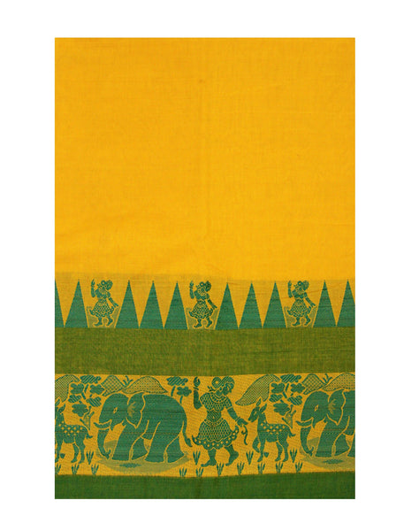 Chettinadu pure cotton Handloom saree with Village theme in border and attached blouse (30587A)
