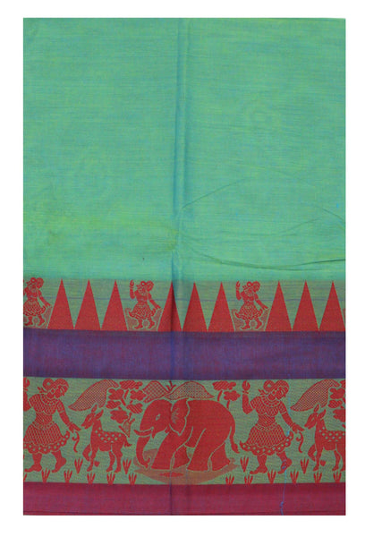 Chettinad pure cotton Handloom saree with Village theme in border and attached blouse (30587C)