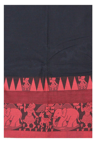 Chettinadu pure cotton Handloom saree with Village theme in border and attached blouse (30587E)