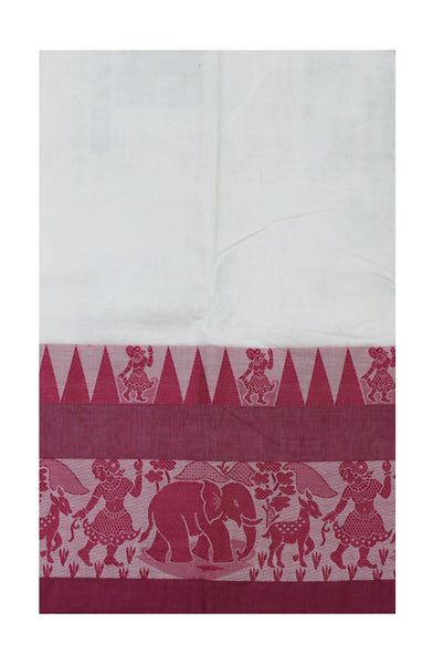 Chettinadu pure cotton saree with Village theme in border and attached blouse (30587G)