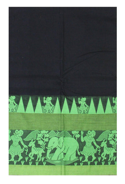Flash Sale! Chettinadu pure cotton Handloom saree with Village theme in border and attached blouse (30587H)