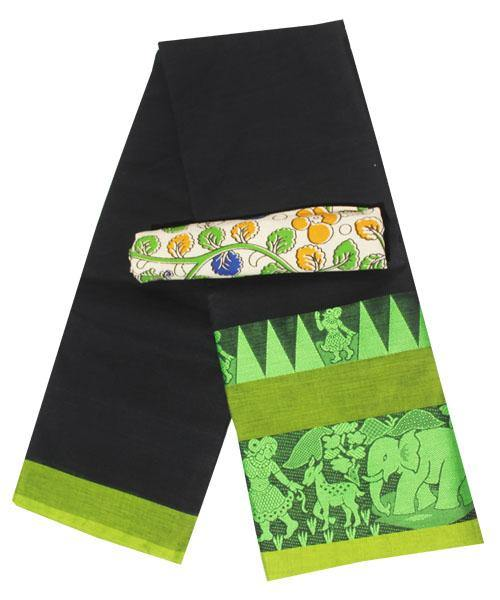 Chettinadu cotton handloom saree with Village theme with blouse (30587H)  *40% Off sale*
