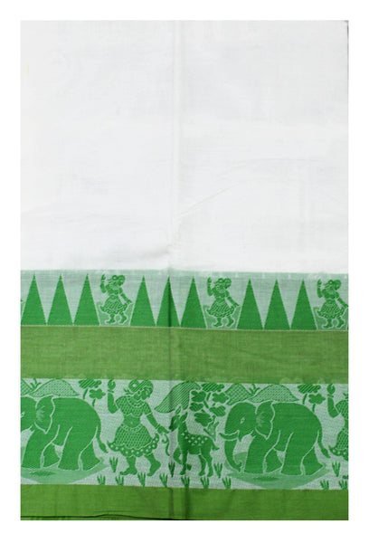 Chettinadu pure cotton Handloom saree with Village theme in border and attached blouse (30587N)