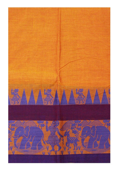 Chettinadu pure cotton Handloom saree with Village theme in border and attached blouse (30587Q)