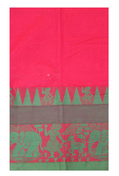 Chettinadu pure cotton handloom saree with Village theme in border and attached blouse-Pink (30587T)