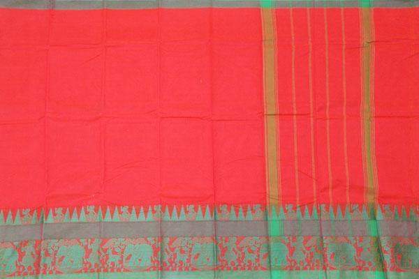 Chettinad cotton handloom saree with Village theme with a blouse (30587V)* Sale  40% Off *, Sarees - Swadeshi Boutique