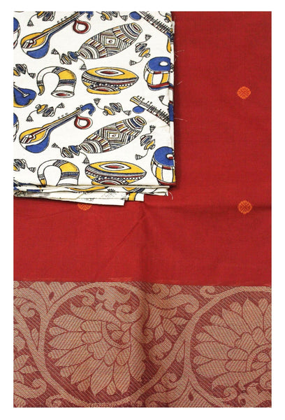 Chettinad pure cotton Handloom saree with putta and beautiful matching kalamkari blouse material  (30589B)