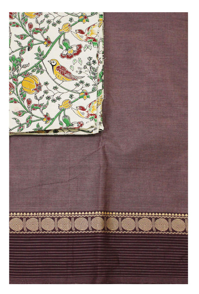 Chettinad pure cotton saree with a Kalamkari designer blouse material (30592A)