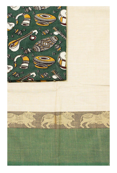 Chettinad pure cotton saree with a Kalamkari designer blouse material (30595A)
