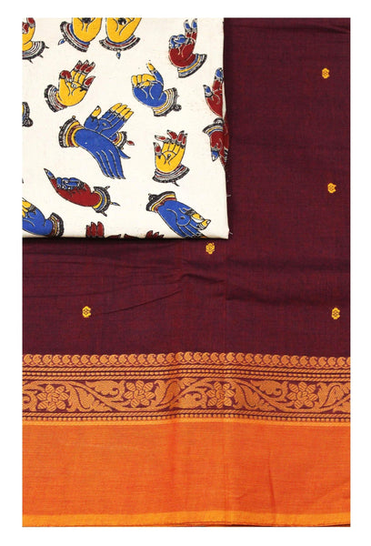 Chettinad pure cotton Handloom saree with putta and beautiful matching kalamkari blouse material  (30600B)