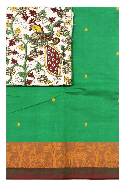 Chettinadu pure cotton Handloom saree with putta and beautiful matching kalamkari blouse material  (30604A)