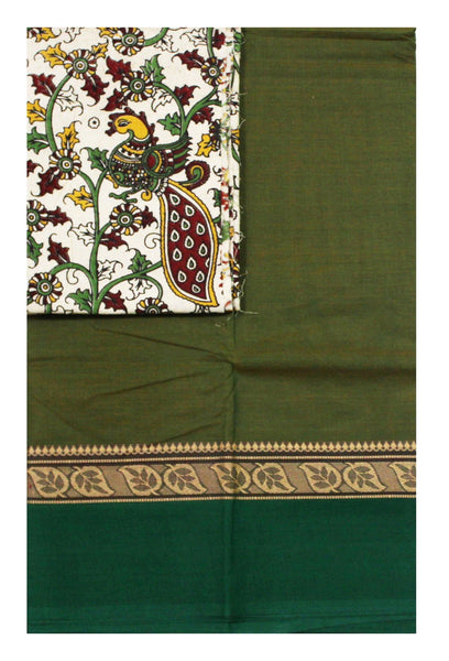 Chettinad pure cotton Handloom saree with a Kalamkari designer blouse material (30605A)