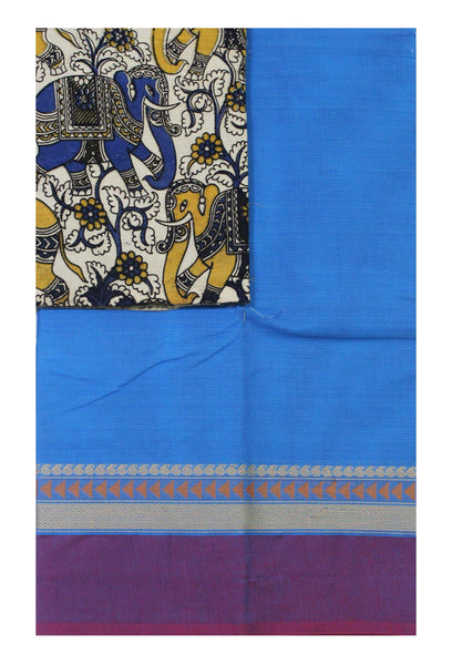 Chettinad pure cotton Handloom saree with a Kalamkari designer blouse material (30611A)