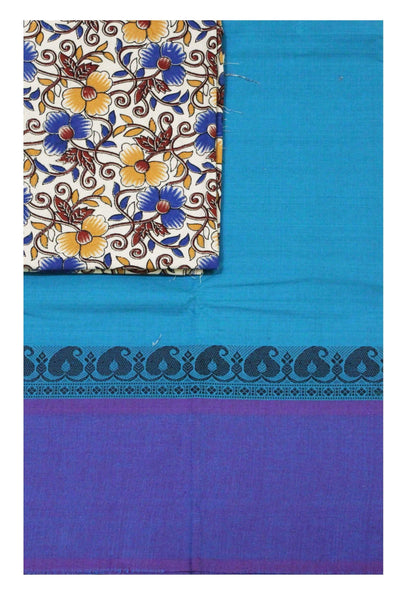 Chettinad pure cotton saree with a Kalamkari designer blouse material (30614A)
