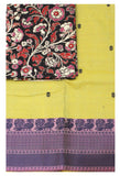 Chettinadu pure cotton Handloom saree with putta and beautiful matching kalamkari blouse material  (30618A)