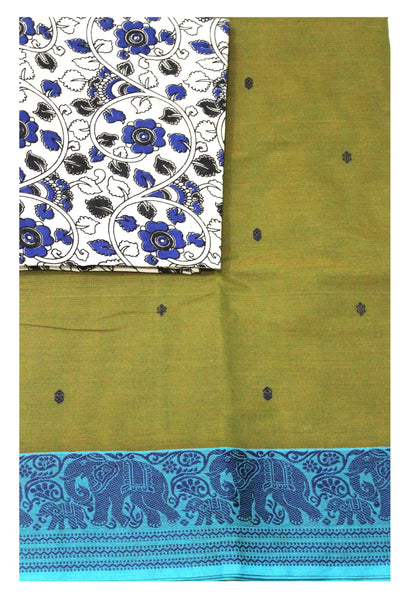 Chettinadu pure cotton Handloom saree with putta and beautiful matching kalamkari blouse material  (30623A)
