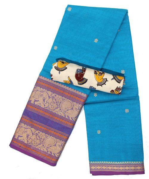 chettinad cotton handloom double border saree with buta+Bonus blouse  (30626D)* Rs.150 Off *, Sarees - Swadeshi Boutique
