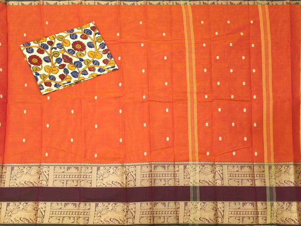 Rs.100 Off Chettinad pure cotton  Handloom double border saree with putta and beautiful matching kalamkari blouse material  (30626G)