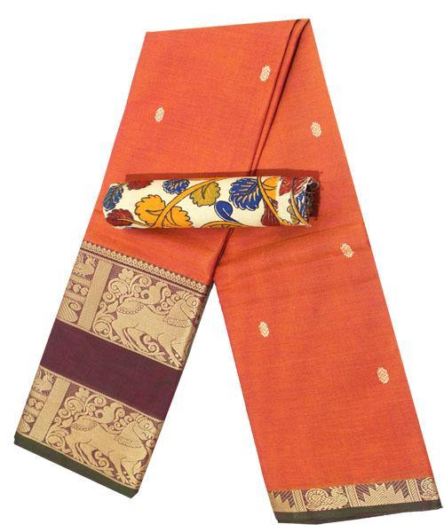 Beautiful Chettinad premium cotton  Handloom double border saree with putta and beautiful matching kalamkari blouse material  (30626G)* Sale Rs.200 Off *