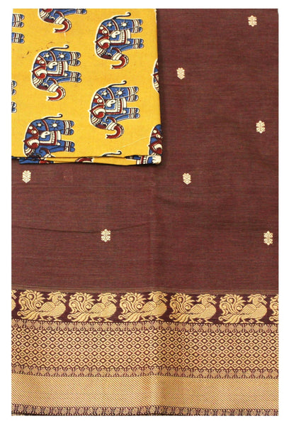 Chettinad pure cotton Handloom saree with putta and beautiful matching kalamkari blouse material  (30630A)