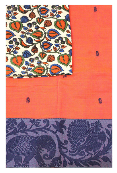 Chettinad pure cotton Handloom saree with putta and beautiful matching kalamkari blouse material  (30634B)