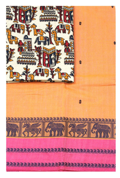 Chettinad pure cotton Handloom saree with putta and beautiful matching kalamkari blouse material  (30641A)