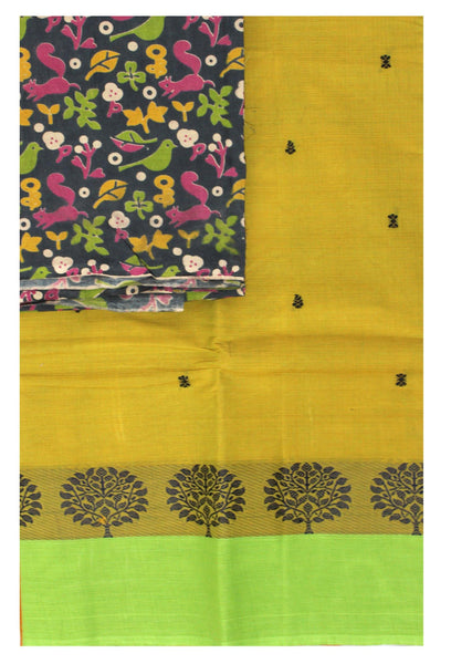 Chettinad cotton saree with a beautiful matching Kalamkari blouse material (30657A)