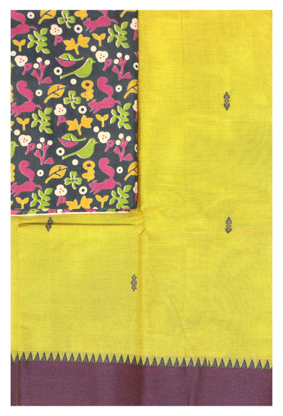 Chettinad cotton saree with a beautiful matching Kalamkari blouse material (30658A)