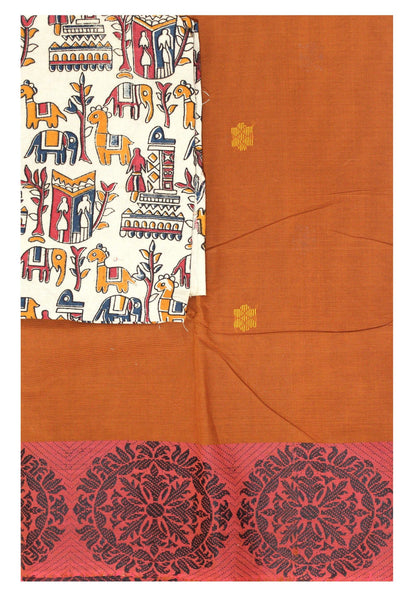 Chettinad cotton saree with a beautiful matching Kalamkari blouse material (30665A)