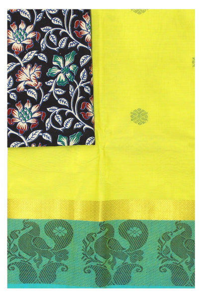 Chettinad pure cotton Handloom saree with putta and beautiful matching kalamkari blouse material  (30673A)
