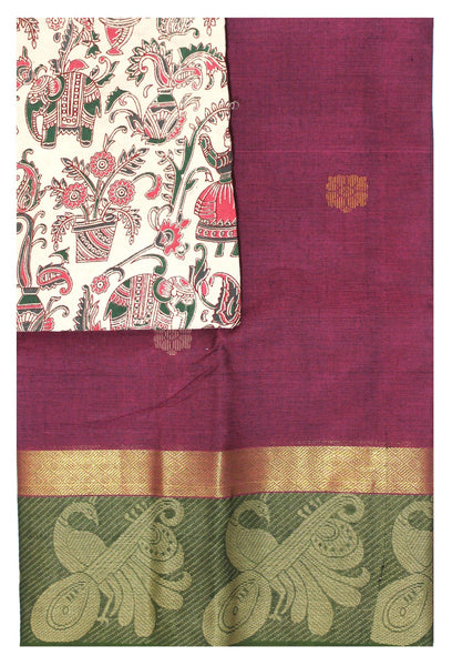 Chettinad pure cotton Handloom saree with putta and beautiful matching kalamkari blouse material  (30674A)