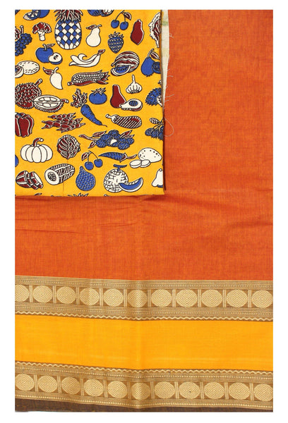 Chettinad pure cotton Handloom saree with a Kalamkari designer blouse material (30677A)