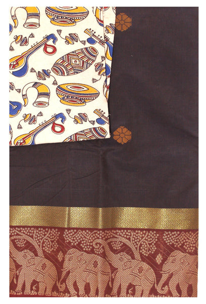 Chettinad pure cotton Handloom saree with putta and beautiful matching kalamkari blouse material  (30683A)