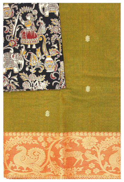 Chettinad pure cotton Handloom saree with putta and beautiful matching kalamkari blouse material  (30685A)