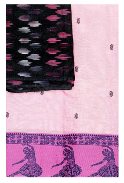 Chettinad pure cotton Handloom saree with putta and beautiful matching Ikkat blouse material  (30691A)