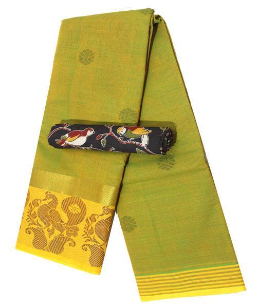 Chettinad pure cotton Handloom saree with putta and beautiful matching kalamkari blouse (Rs.249 value) - (30722A)