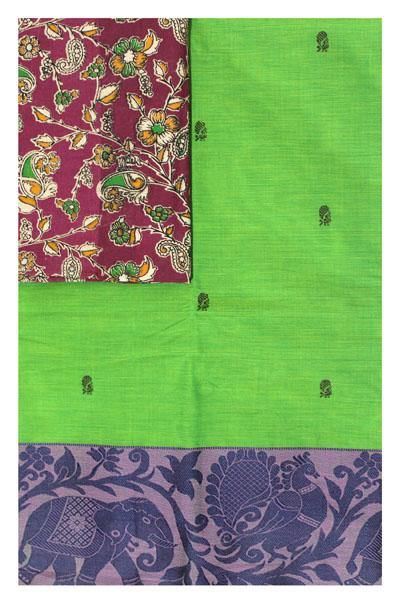 Chettinad pure cotton Handloom saree with putta and beautiful matching kalamkari blouse (Rs.249 value) - (30727A)