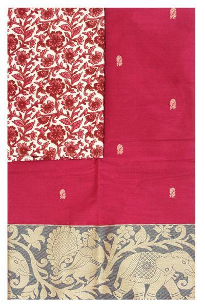 Chettinad pure cotton Handloom saree with putta and beautiful matching kalamkari blouse (Rs.249 value) - (30728A)