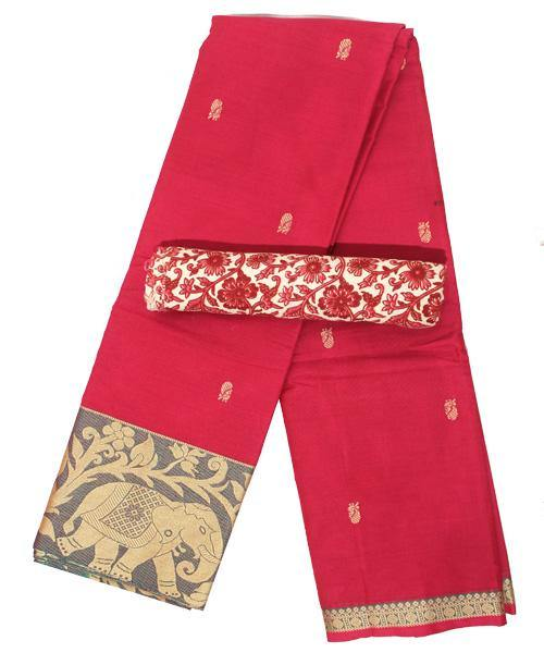 Chettinad pure cotton Handloom saree with buta and matching kalamkari blouse (Rs.249 value) - (30728A), Sarees - Swadeshi Boutique