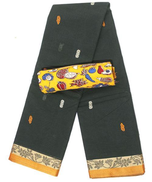 Chettinad pure cotton Handloom saree with buta and matching kalamkari blouse (Rs.249 value) - (30731A), Sarees - Swadeshi Boutique
