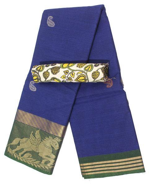 Chettinad pure cotton Handloom saree with buta and matching kalamkari blouse (Rs.249 value) - (30732A), Sarees - Swadeshi Boutique