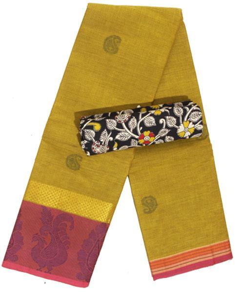 Chettinad pure cotton Handloom saree with buta and matching kalamkari blouse material  (30741A), Sarees - Swadeshi Boutique